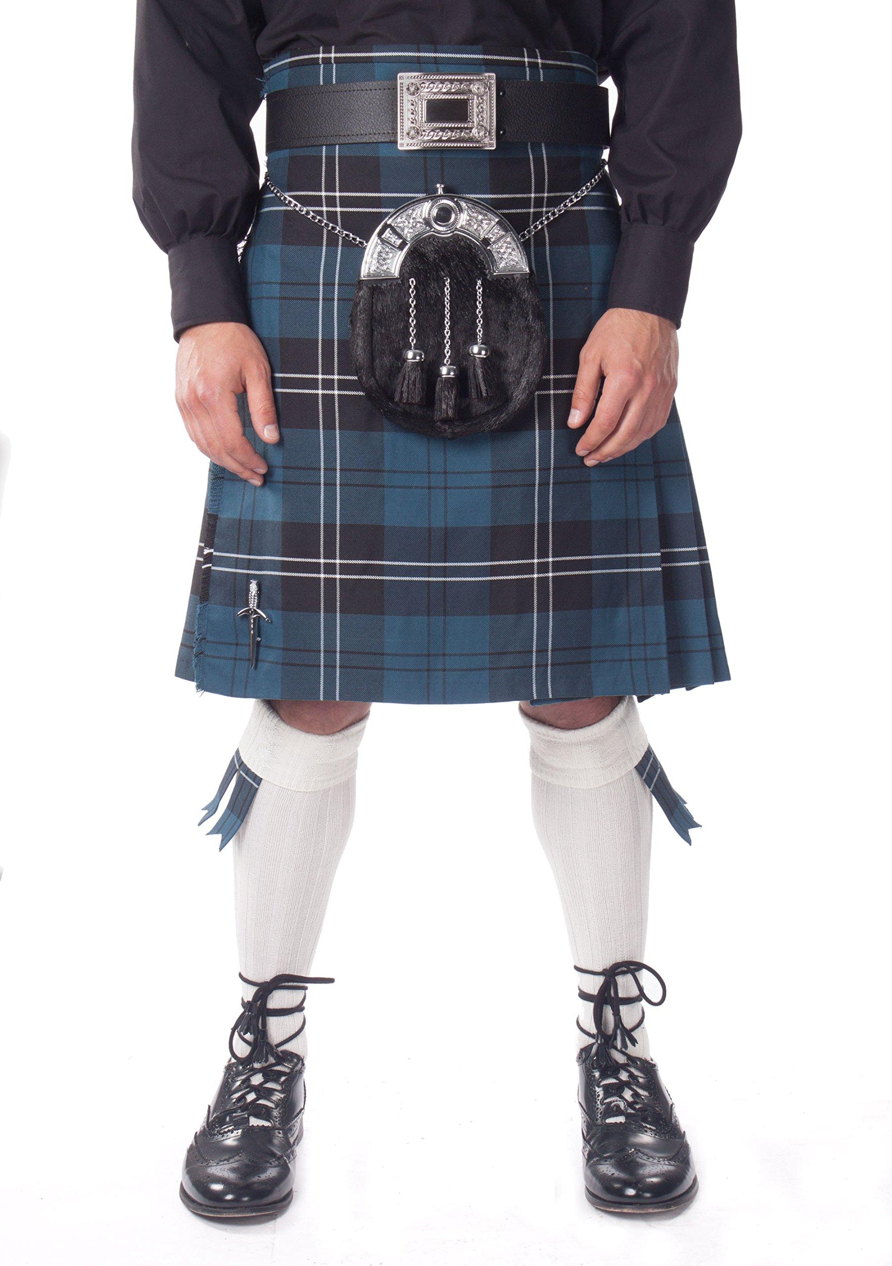 Kilt Society Mens 7 Piece Full Dress Kilt Outfit- Ramsay Blue Tartan with White Hose 34'' to 38'' by Kilt Society