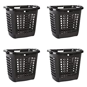 Sterilite 12259004 Ultra Easy Carry Hamper, Black Hamper w/ Titanium Inserts, 4-Pack
