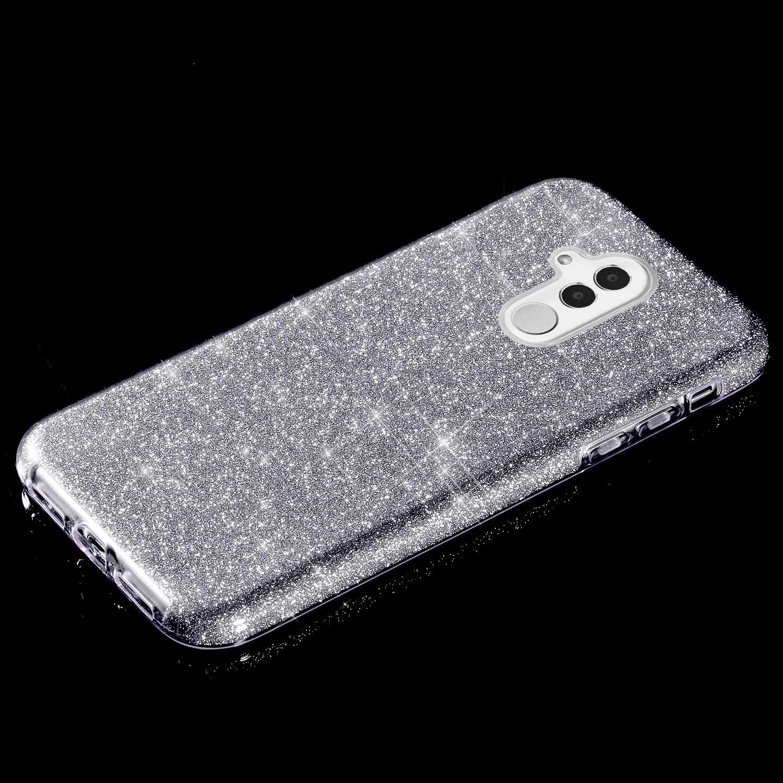 YSIMEE Compatibile con Cover Huawei Mate 10 Lite Custodia,Custodie Glitter Bling Scintillante Brillantini Ultra Sottile Morbida Silicone Gel Trasparente Bumper Gomma Protettiva,Rosso Tre Strati