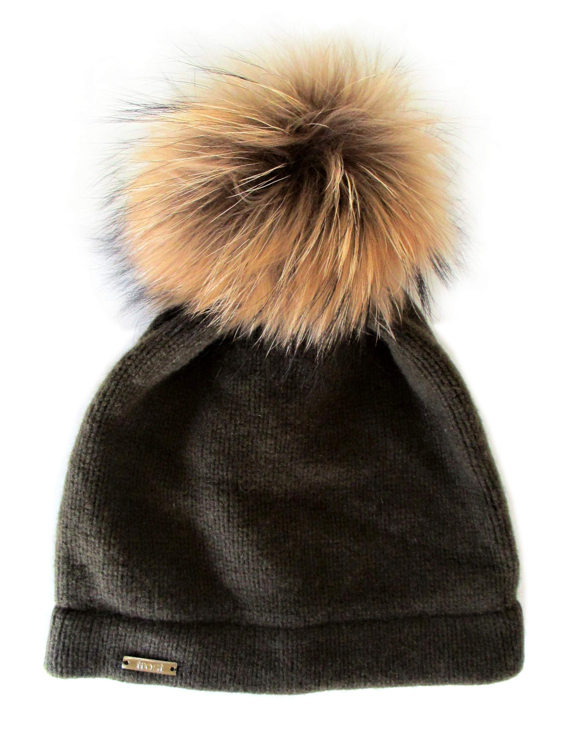 Frost Hats Cashmere Classic Hat with Detachable Genuine Fox Fur Pom CSH-059RN (Olive Green)