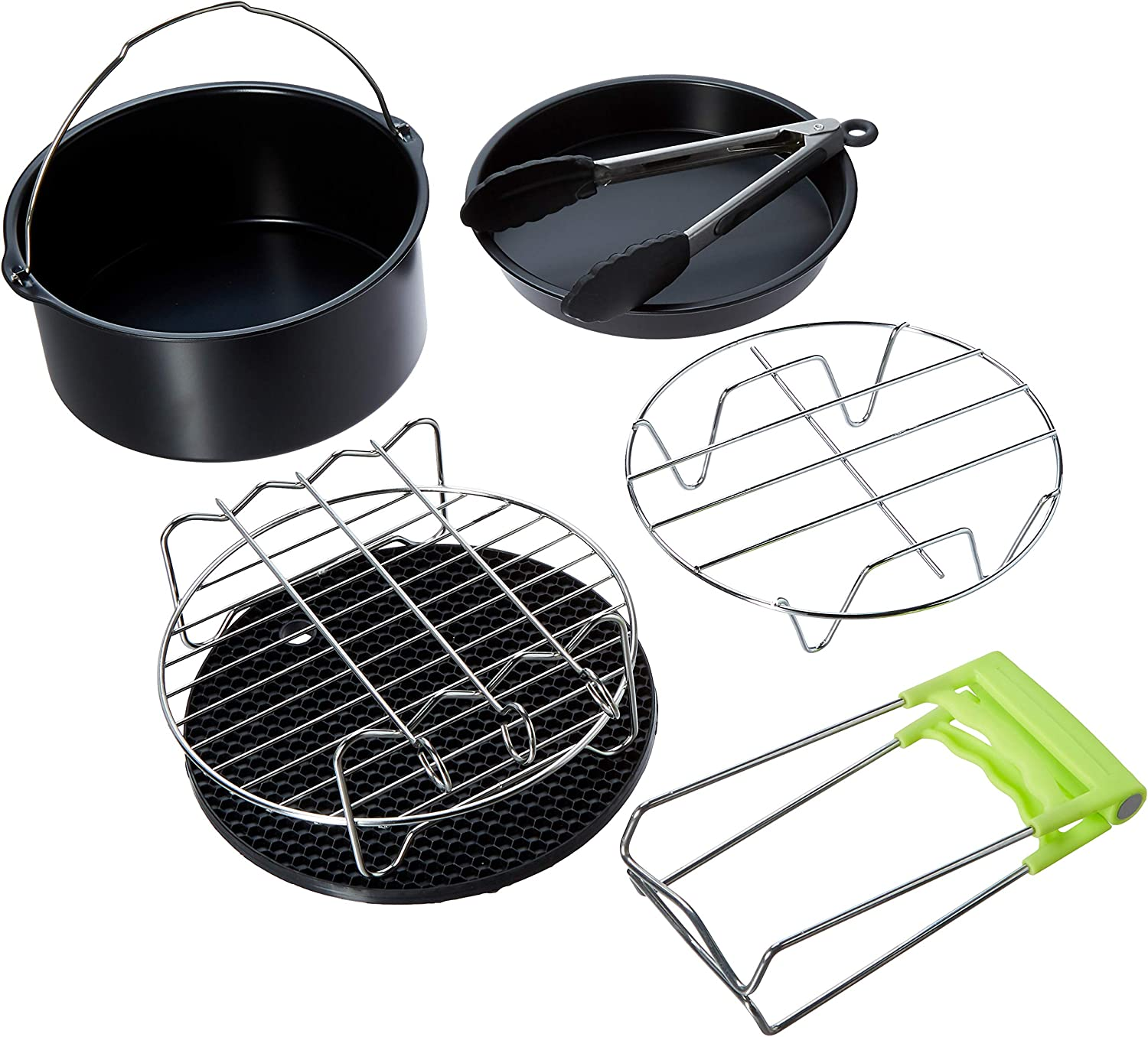 Air Fryer Accessories,for Phillips Air Fryer and Gowise Air Fryer Deep Fryer Universal, Cake Barrel, Pizza Pan, Silicone Mat, Skewer Rack, Metal holder Fit all 3.7QT-5.3QT-5.8QT (7 Inch)
