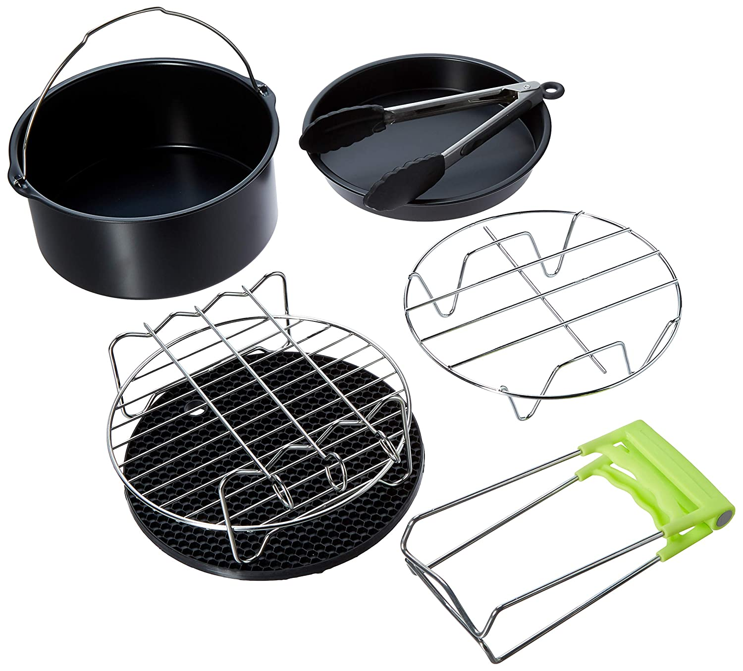 Skewer Rack Cake Barrel Pizza Pan Air Fryer Accessories,for Phillips Air Fryer and Gowise Air Fryer Deep Fryer Universal Metal holder Fit all 3.7QT-5.3QT-5.8QT 7 Inch Silicone Mat