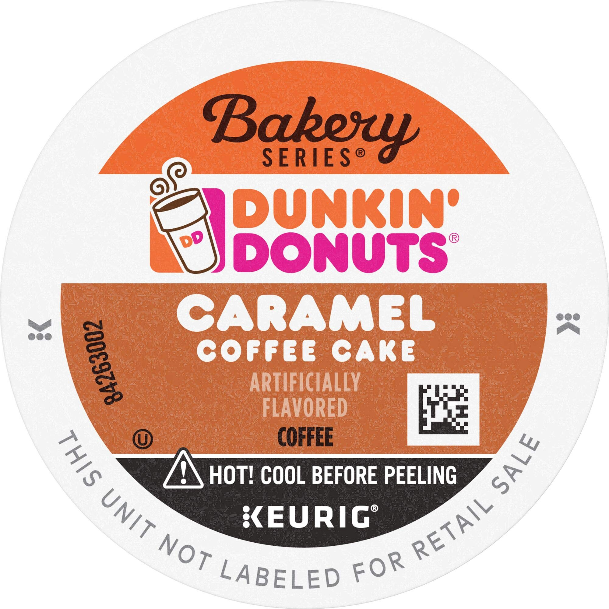 Dunkin' Donuts Bakery Series Caramel Coffee Cake Flavored Coffee, 88 K Cups for Keurig Coffee Makers, Caramel coffee Cake, 88Count