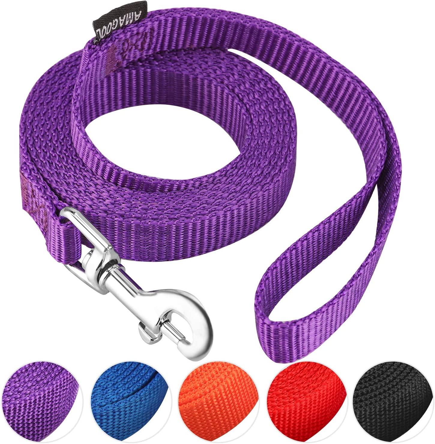 AMAGOOD 6 FT Puppy/Dog Leash, Strong and Durable Traditional Style Leash with Easy to Use Collar Hook,Dog Lead Great for Small and Medium and Large