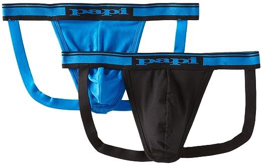 d66f0d57850f papi Men's 2-Pack Cotton Stretch Jock Strap - Multi - Black/Blue ...