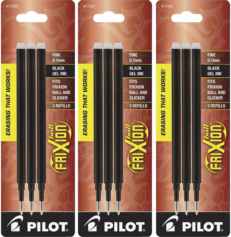 Pilot Gel Ink Refills for FriXion Erasable Gel Ink Pen, Fine Point, Black Ink, 3 Packs containing 3 refills each total of 9 refills (77330)