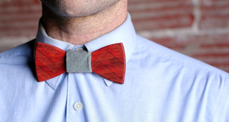 ce3e2f8a65c9 Amazon.com: Two Guys Bow Tie Co. Men's Wood Bow Tie- Floyd Walnut Wood Bow  Tie (One Size, Paduak with Gray Denim): Clothing