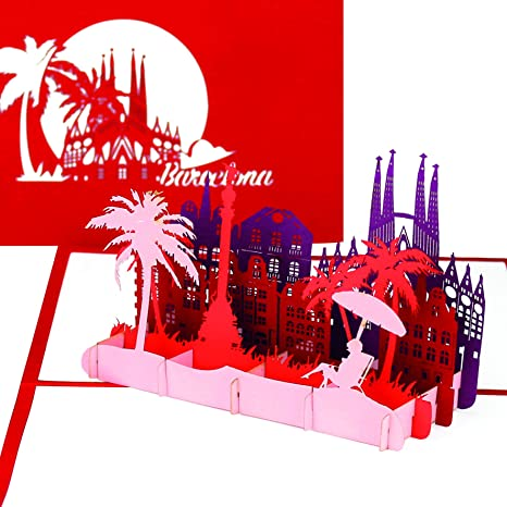 Carte Barcelone Vacances.Carte Barcelone Carte Pop Up 3d Avec Skyline Sagrada