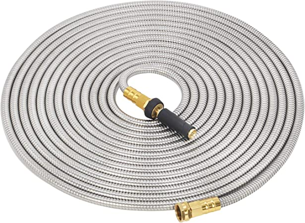VERAGREEN Stainless Steel Metal Garden Hose 304 Stainless Steel Water Hose with Solid Metal Fittings and Newest Spray Nozzle Durable and Easy to Store Lightweight Kink Free 25FT