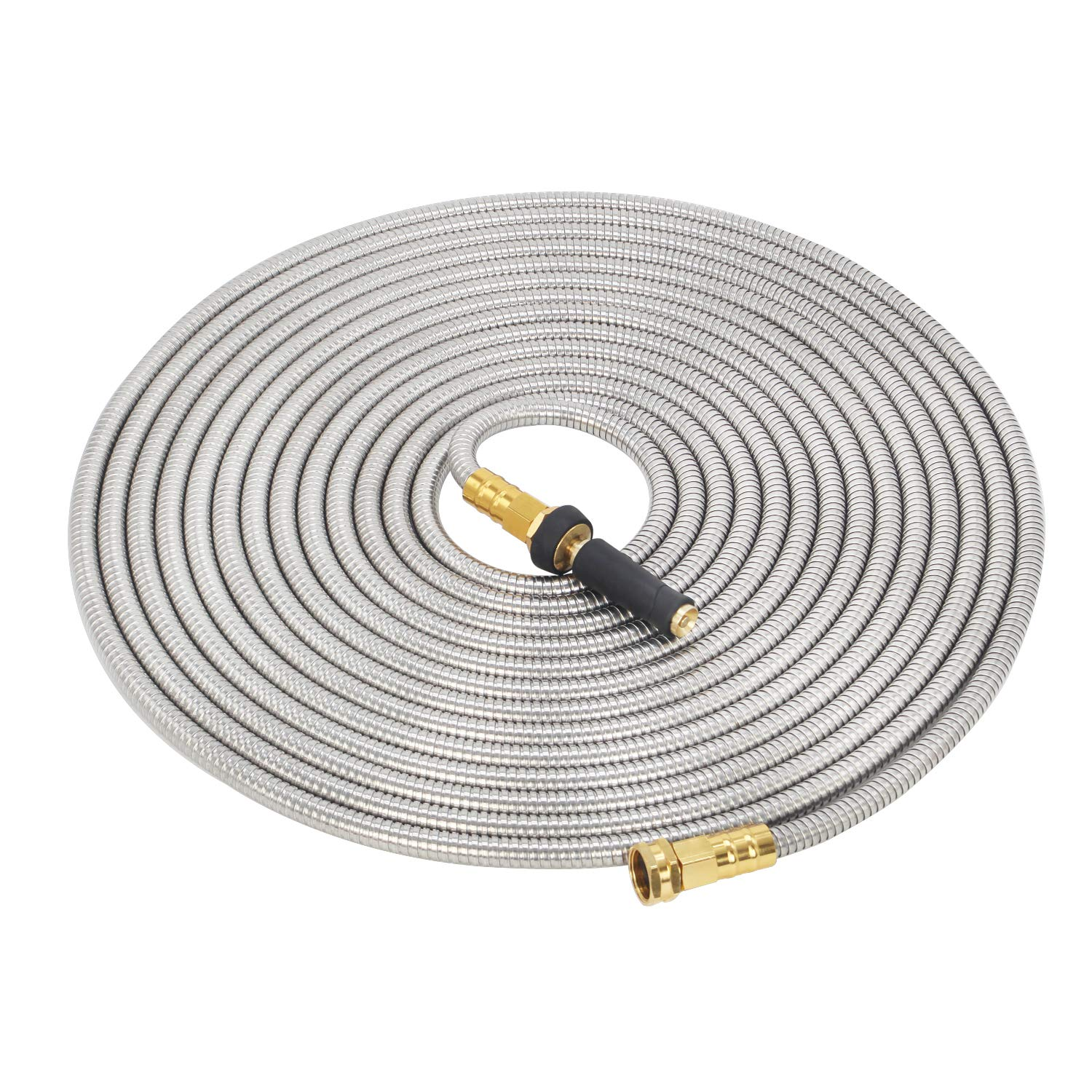 GRUNEN WOLKEN 50 FT 304 Stainless Steel Metal Garden Hose with Solid Brass Nozzle - Solid Metal Fittings and Newest Spray Nozzle, Lightweight, Kink Free, Durable and Easy to Store(50 FT)