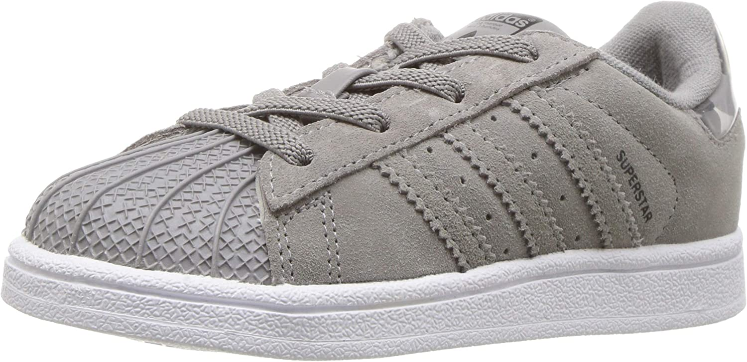 adidas Originals Baby Superstar EL Running Shoe, ch Solid Grey/White, 10K M US Toddler