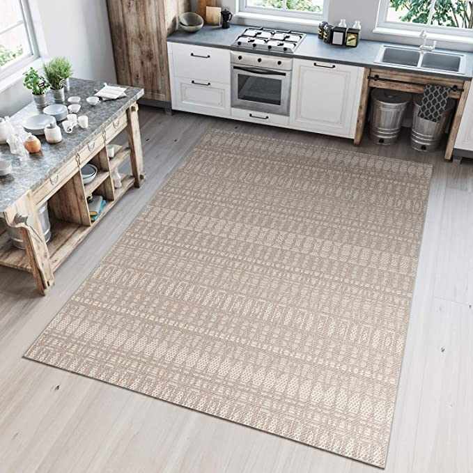 Tapiso Jogo Alfombra de Cocina Sala Comedor Terraza Diseño Moderno Beige Resistente Interior Exterior Fina 160 x 230 cm