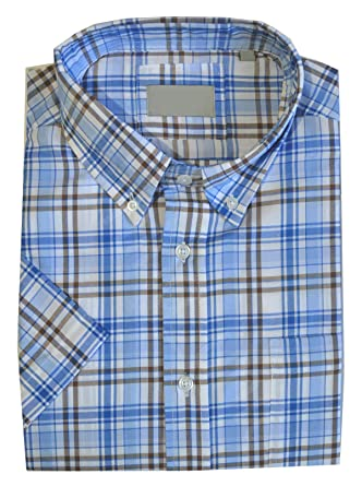 07f4db07902 Clothing Unit Mens Poly Cotton Check Short Sleeve Button Down Collar Shirt  Work Casual M-5XL  Amazon.co.uk  Clothing