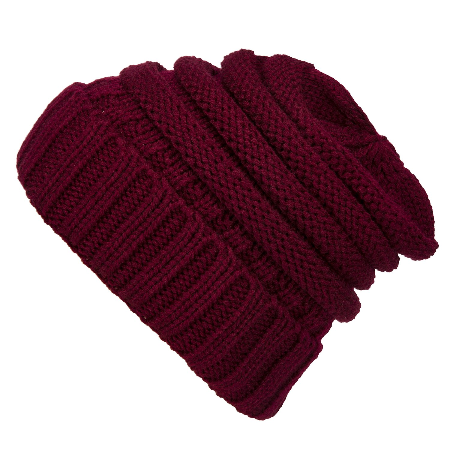 WINCAN Stretch Cable Slouchy Beanie Hat Trendy Warm Chunky Soft Knit Cap (Wine red)