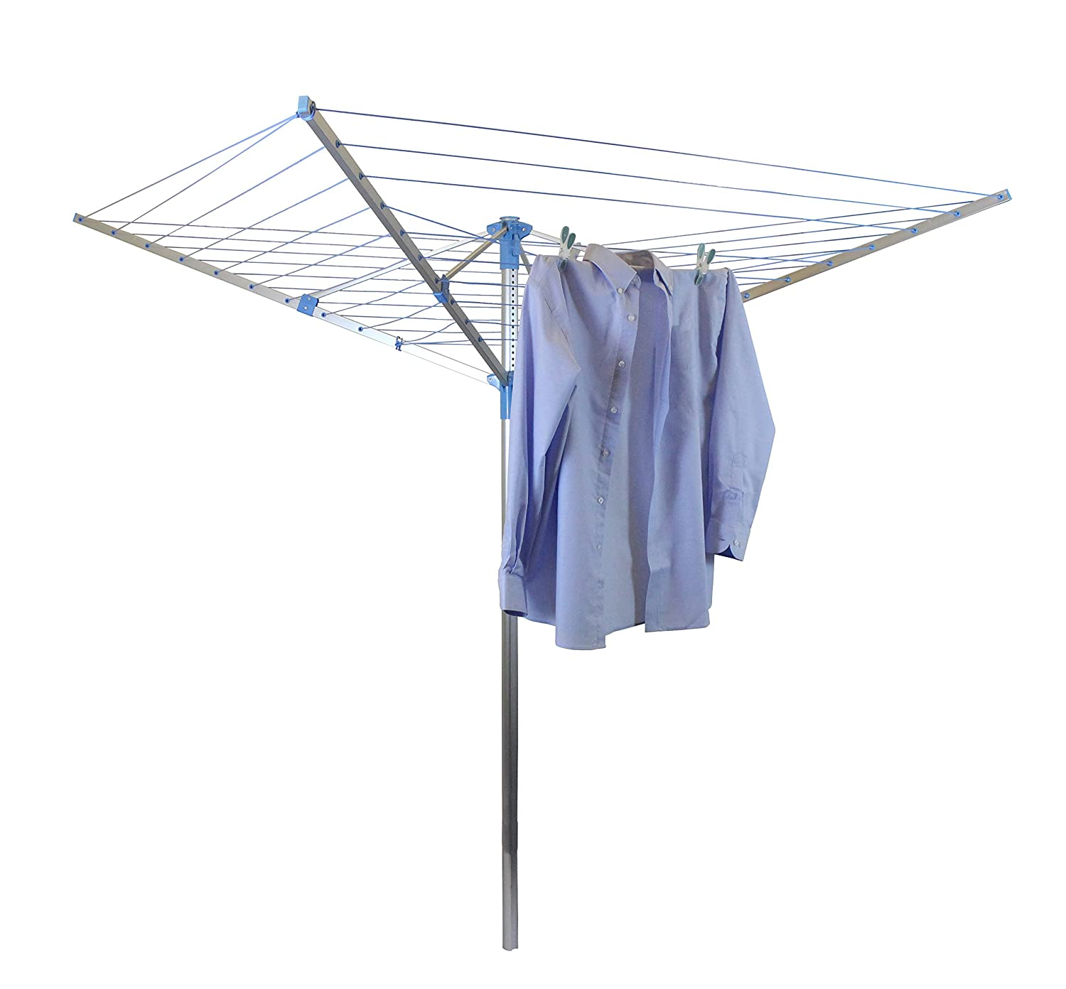 JVL Robust Adjustable Aluminium Four-Arm Rotary Clothes Airer Washing Line Drier, Blue, 40 m 11-042