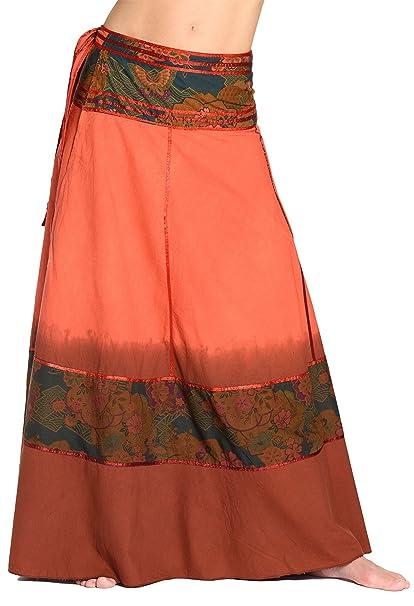 221b387cfc ufash Gonna a Portafoglio Batik - Gonna Unisex dall'india, Lunga 92 cm, con  Nastri - Molti Disegni Differenti