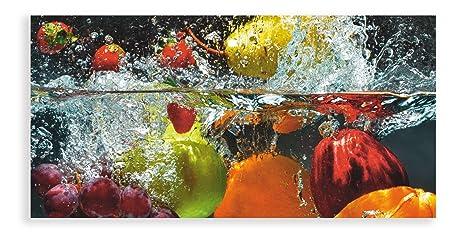 Artland Qualitätsbilder I Glasbild Küche Wandbild Deko Glas Bilder Größe  60x30 cm Genuss Obst Foto Bunt D1GJ Frisches Obst im Wasser