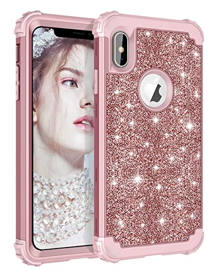 designer fashion c5a6e 58c0b Lontect Compatible iPhone Xs Max Case Glitter Sparkle Bling Heavy Duty  Hybrid Armor High Impact Shockproof Protective Cover Case for Apple iPhone  Xs ...