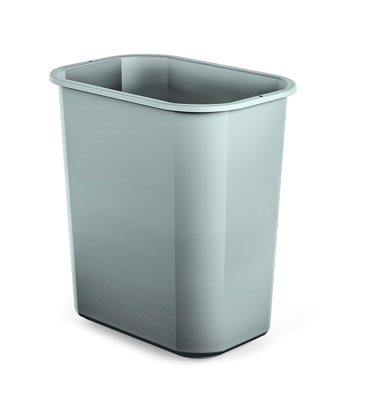 AmazonBasics 3 Gallon Plastic Commercial Trash Waste Basket, Grey, 12-Pack