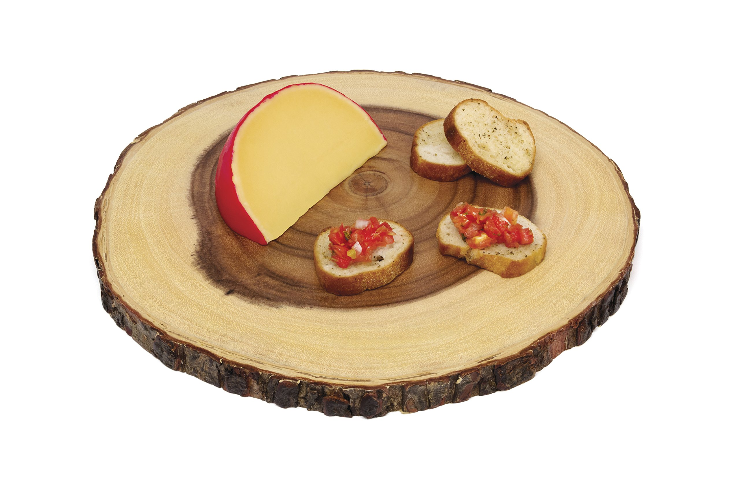 Lipper International 1040 Acacia Wood Slab Serving Board With Bark for Cheese, Crackers, and Hors D'oeuvres, Set of 3, Assorted Sizes by Lipper International (Image #11)