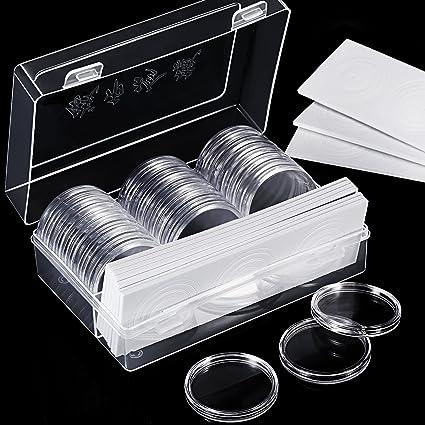 Hicarer 30 Piezas 46 mm Cápsulas de Monedas y 30 Piezas Junta Protectora Caja Funda de Moneda con Caja Organizador de Almacenaje de Plástico para ...
