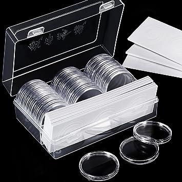 Hicarer Soporte de Cápsulas de Monedas de 46 mm y 8 Tamaños (17/20,5/25/27/30/32/40/46 mm) Estuche Funda de Monedas con Caja de Organizador para ...