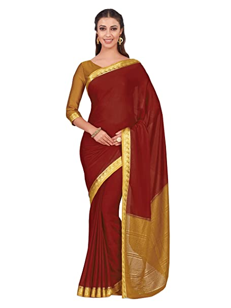 ed91e09206b8ff Mimosa Art Crape silk Wedding saree Kanjivarm style With Contrast Blouse  Color: Red (4319-2263-2D-MRN-MST): Amazon.in: Clothing & Accessories