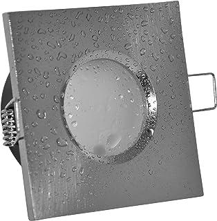 Foco empotrable para baño IP65 cuadrado (sin bombilla), color aluminio cepillado, 12 V MR16 230 V (Casquillo…