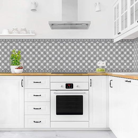 Bilderwelten Cr/édence adh/ésive Geometric Tiles Mix Gray 50 x 50 cm Premium