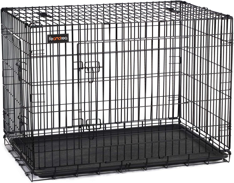 FEANDREA HundeK/äfig 2 T/üren faltbar Hundebox Gitterbox TransportK/äfig DrahtK/äfig Katzen Hasen Nager Kaninchen Gefl/ügel K/äfig L XXXL