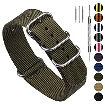 10 Colors for NATO Watch Band 18mm 20mm 22mm 24mm, Fullmosa Nylon Watch Straps for Men Women