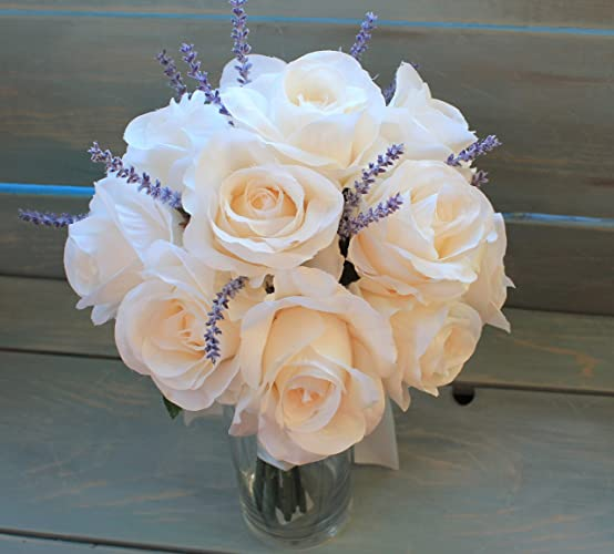 Amazon Com Round Brides Bouquet In Ivory Champagne Roses With