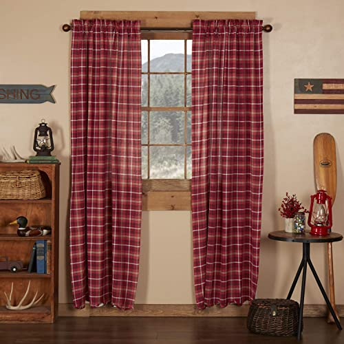 VHC Brands Americana Rustic Lodge Window Braxton Red Scalloped Curtain Panel Pair
