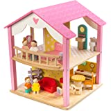 "2 Storey Pink Leaf House with Swivel Base - 18"" Tall Classic Doll House with 14 Doll Furniture Pieces - Premium Quality Construction - Develops Social and Emotional Skills - 3 Years +"