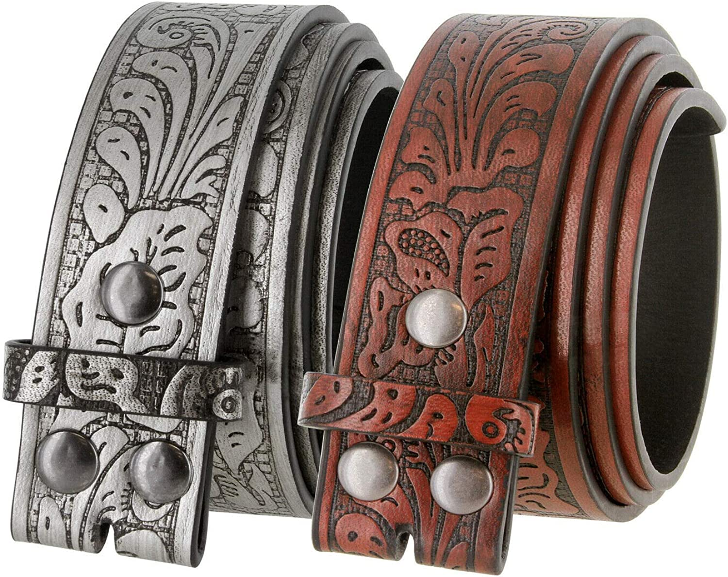 Gift for Her With Removable Buckle Bohemian Boho Embossed Western Brown LEATHER BELT for WOMEN Handmade Belt with Roses