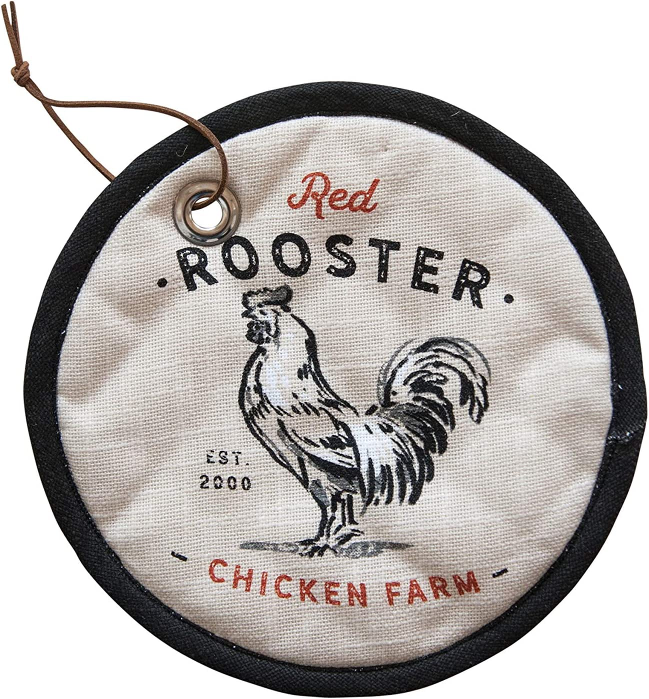 Creative Co-op Black & White Red Rooster Chicken Farm Cotton Potholder, Black