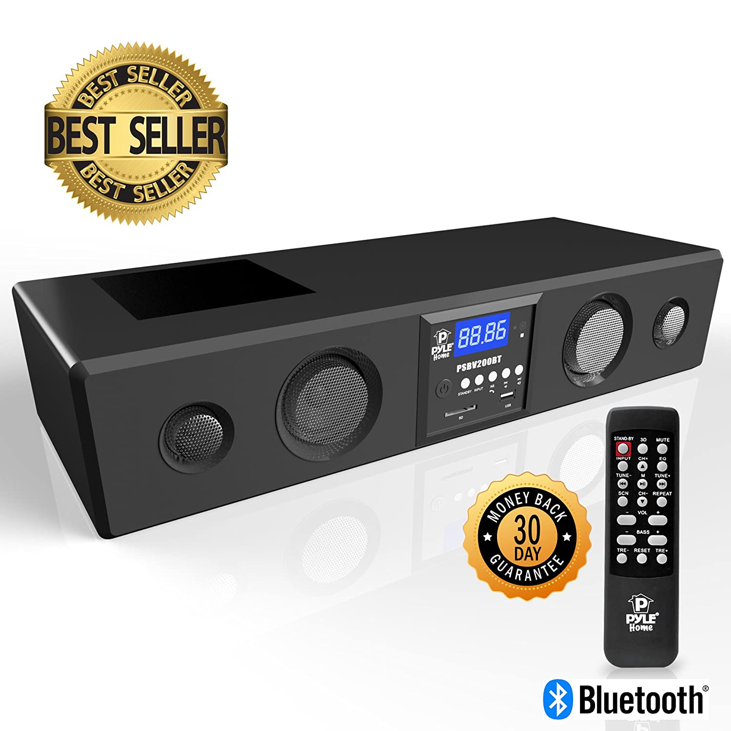 Pyle 3D Surround Bluetooth Soundbar - Sound System Bass Speakers Compatible  to TV, USB, SD, FM Radio with 3 5mm AUX Input , Remote Control, For Home