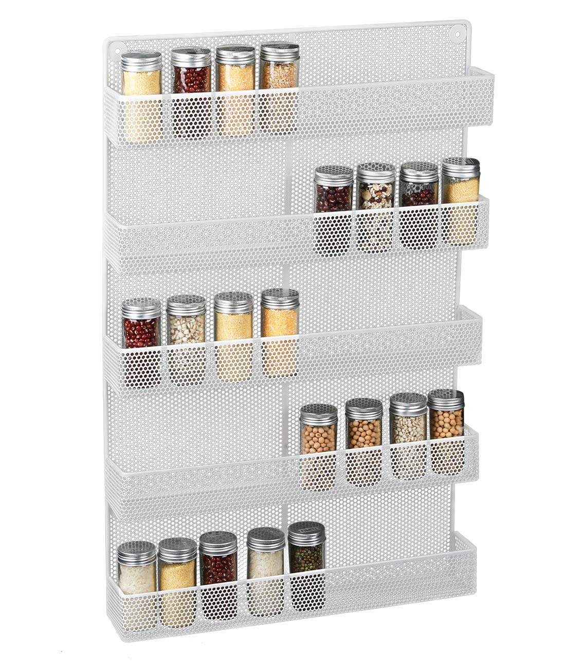 Denozer 5 Tier Wall Mounted Large Spice Rack Organizer, White by Denozer