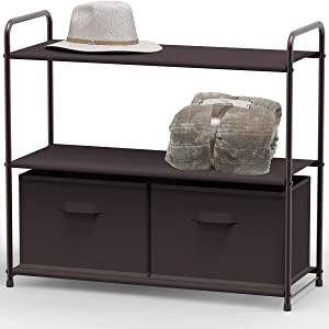 Simple Houseware 3-Tier Closet Storage with 2 Drawers, Brown