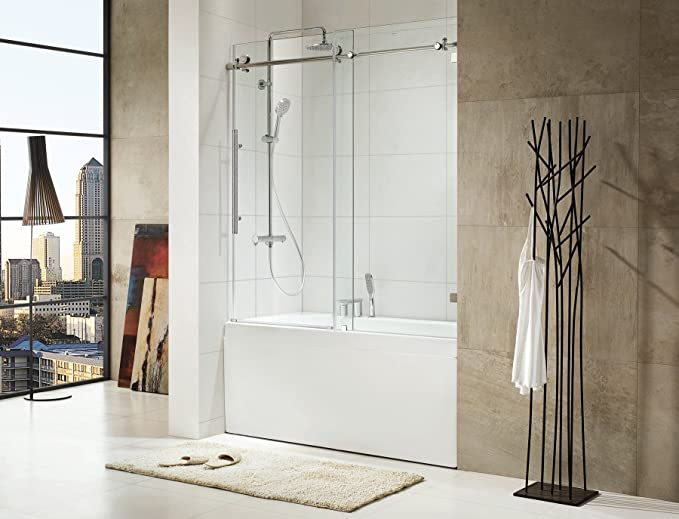 Paragon baño crsbs0362-brn-tub sin marco puerta corredera bañera ...