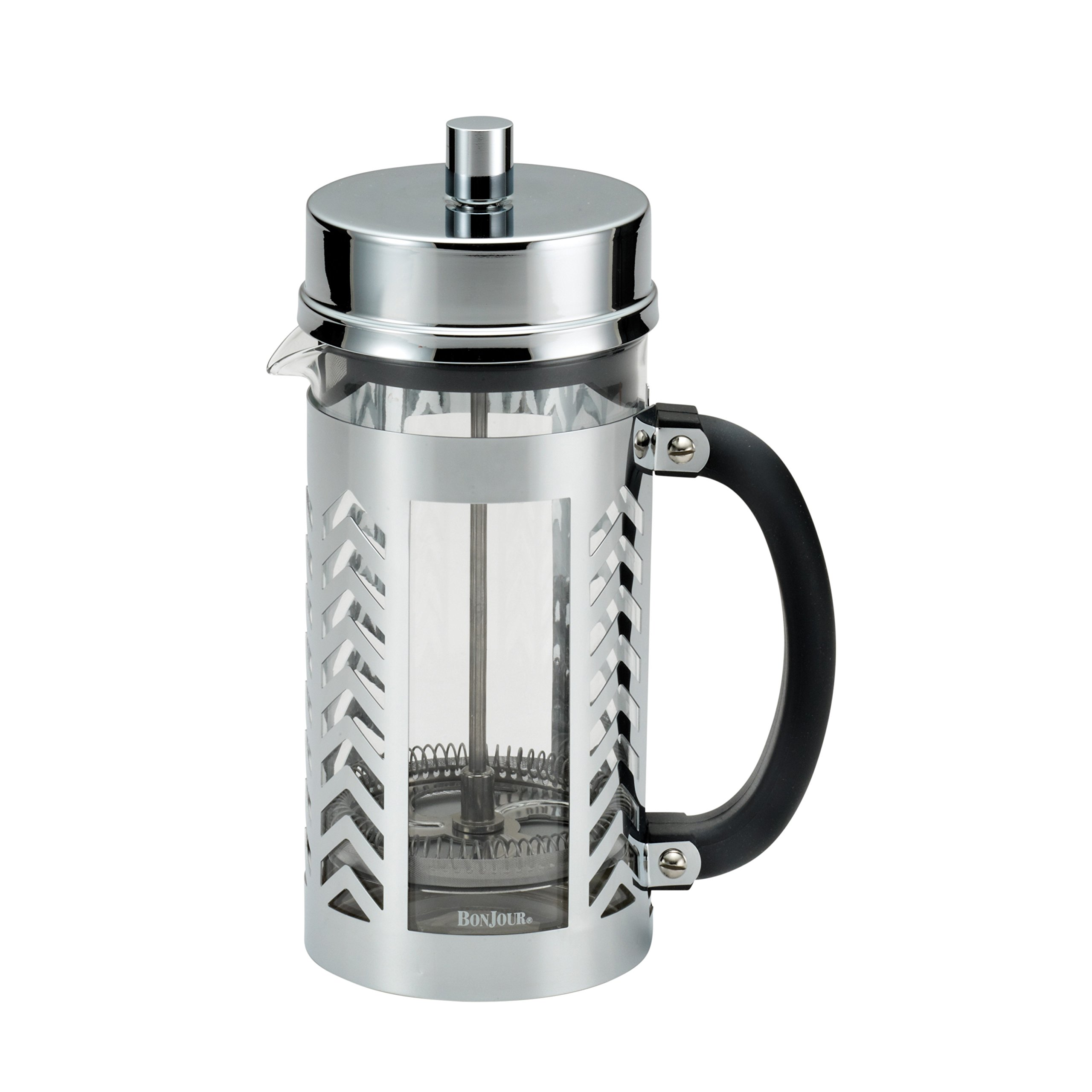BonJour Coffee Glass and Stainless Steel French Press, 33.8-Ounce, Chevron by BonJour