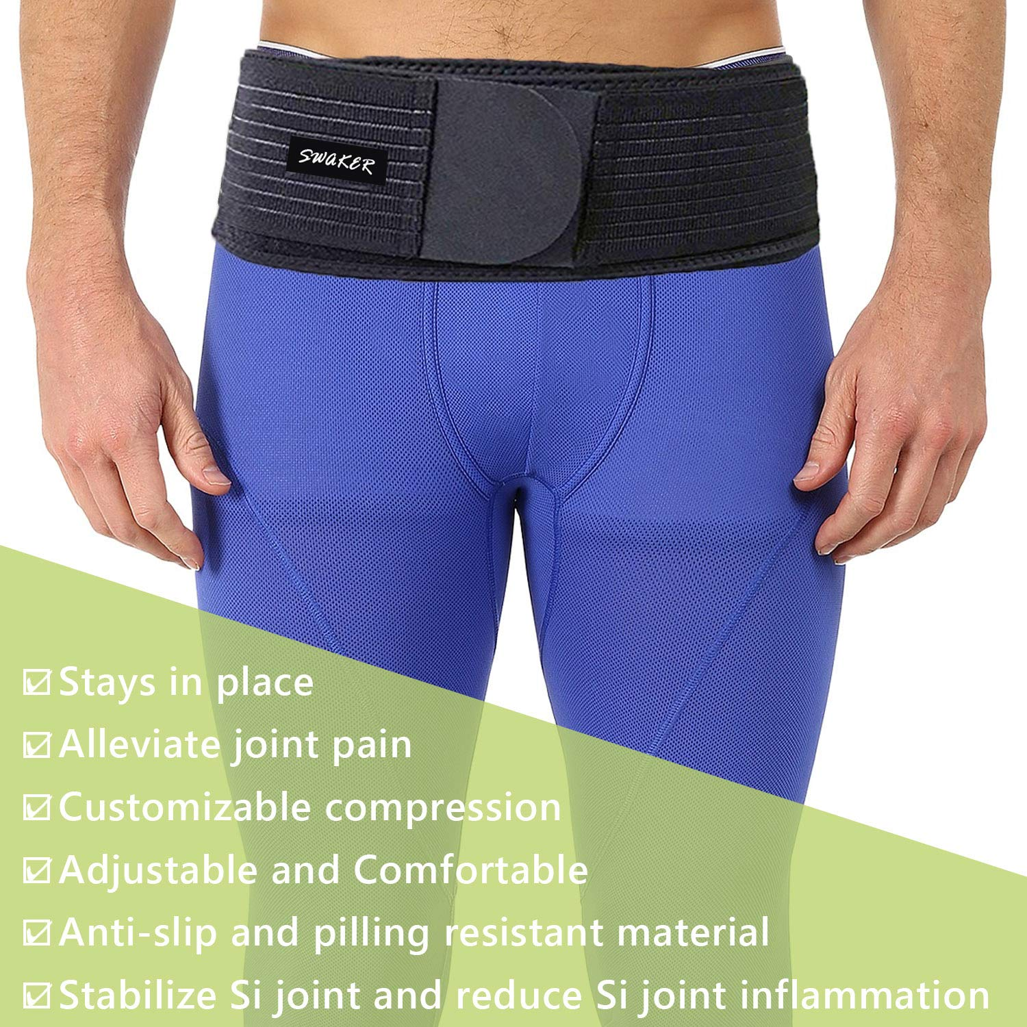 Si Belt for Women and Men - Sacroiliac Belt, Stabilize SI Joint   Relieve Sciatic, Pelvic, Lower Back and Leg Pain, Anti-Slip & Pilling-Resistant & Breathable (Black/Regular)