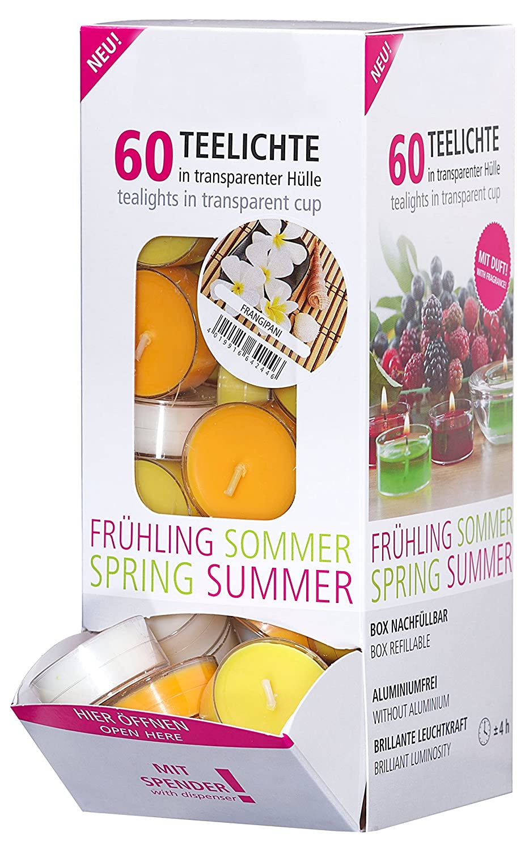 Smart Planet/® Ambiente Lot de 60 Bougies Chauffe-Plat parfum/ées Frangipani Fleurs dans Un /étui Transparent