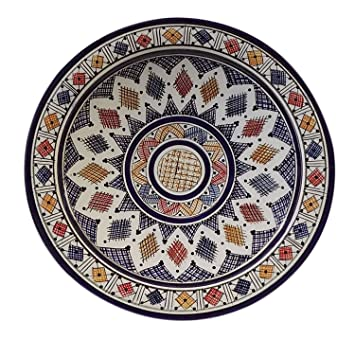 Moroccan Ceramic Plate Handmade Deep Serving Dinnerware 16 Inches Diameter Multicolored  sc 1 st  Amazon.com & Amazon.com | Moroccan Ceramic Plate Handmade Deep Serving Dinnerware ...