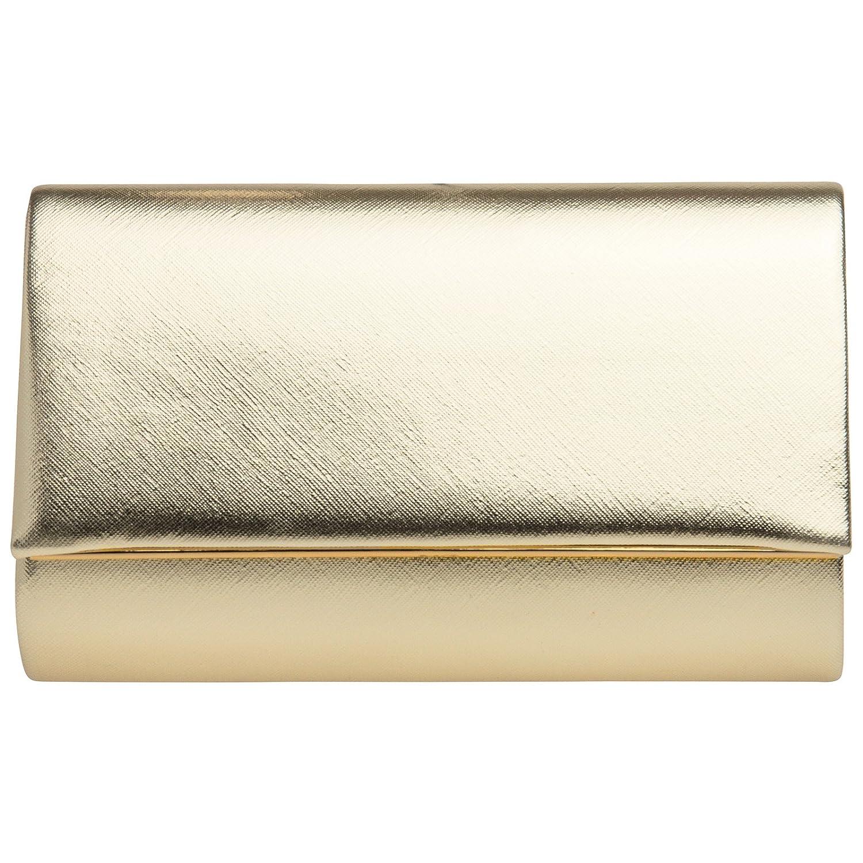 CASPAR TA361 elegante Damen Envelope Clutch Tasche/Abendtasche mit langer Kette 4251085297069