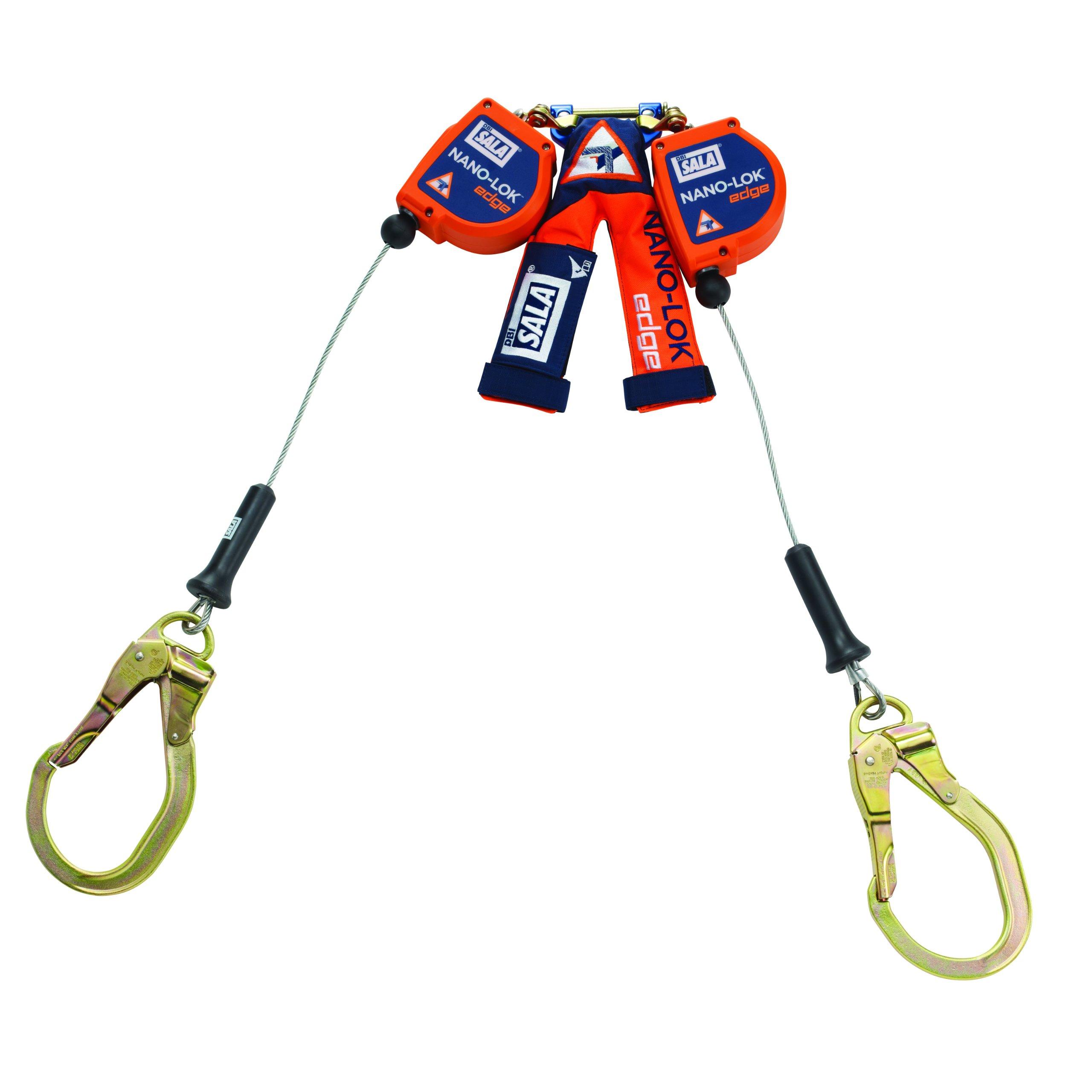 3M DBI-SALA Nano-Lok Edge 3500227 SRL, 8', Double-Leg 100 Percent Tie-Off, Leading/Sharp Edge Steel Rebar Hook, Quick Connector for Harness Mount