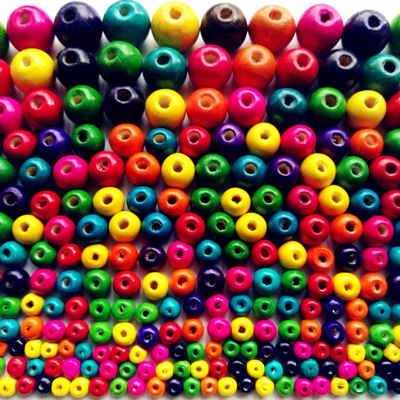 LnVision Bunte Holzperlen 550 stück 6mm bis 20mm Bunt Holz perlen Set für DIY Schmuck Herstellung Zum Basteln vom Armband Kette Fädeln Enthält 6mm 8mm 10mm 12mm 14mm 16mm 18mm 20mm,8 Größen 8 Größen