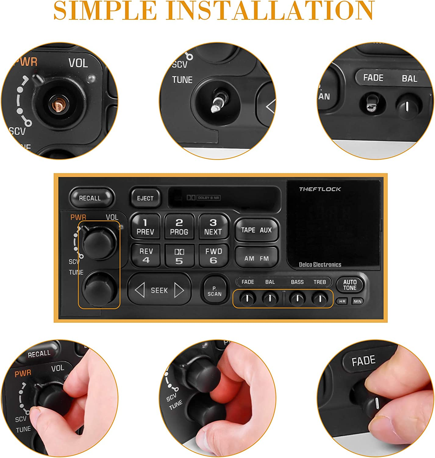 RDBS 6 PCS Stereo Radio Knobs Kit OEM Replacement for GMC Cadillac ...