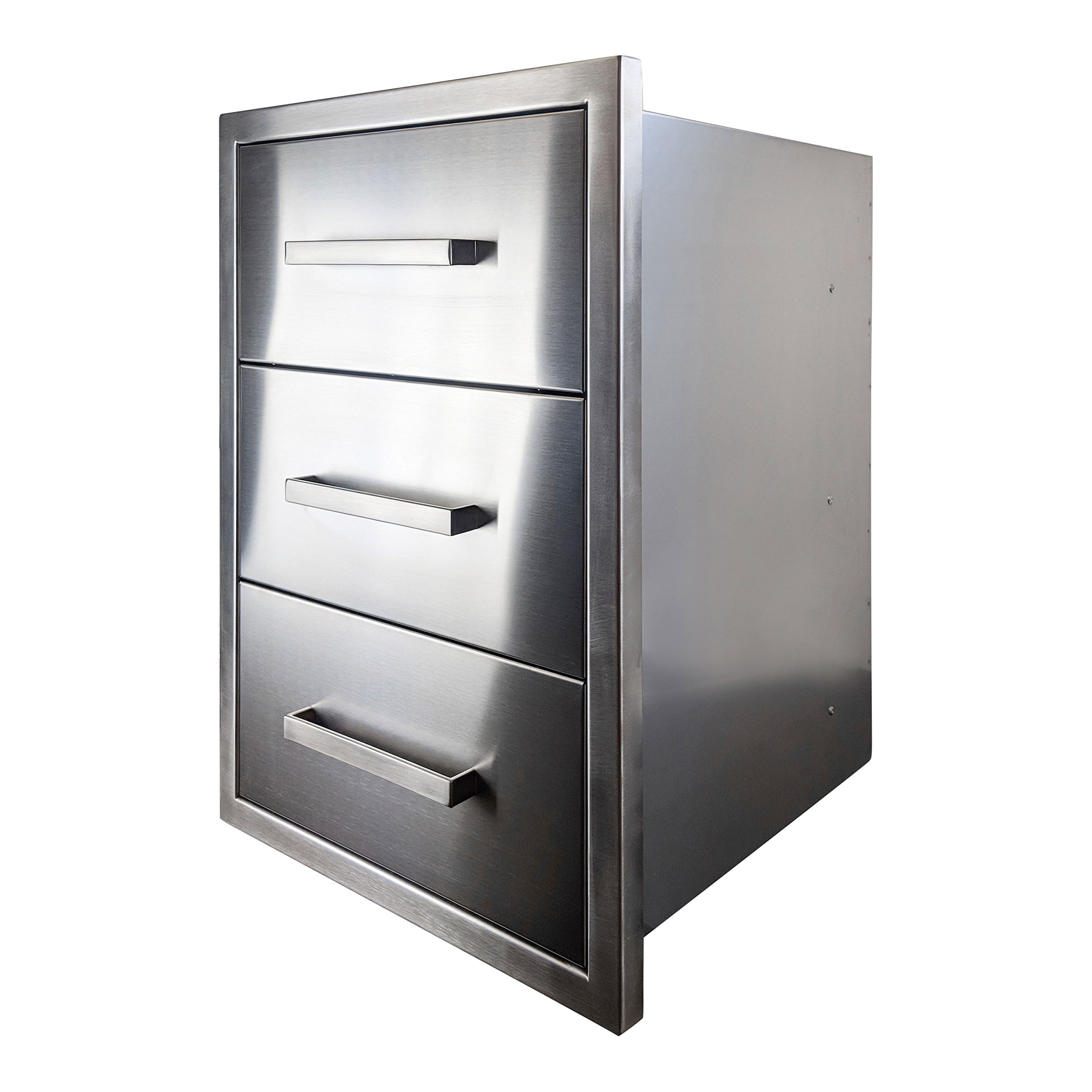 Katzington BBQ ISLAND DRAWERS - Modern Style - 26'' Triple Drawers - 304 Grade Stainless Steel - Double Walled Construction - Barbecue Island/Outdoor Kitchen Access Door - Soft Close Drawer Glides