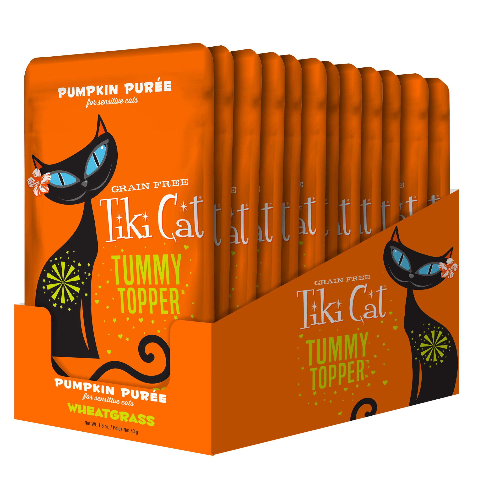 Tiki Cat Healthy Tummy Topper with Non-GMO Pureed Pumpkin for Cats, 12 Pouches by Tiki Pets